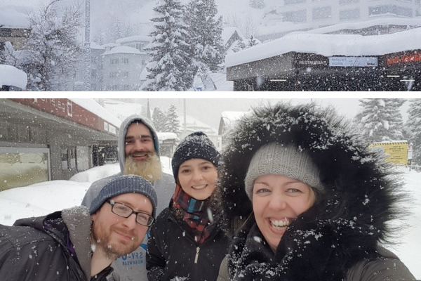 Dick George Crew smile in the snow - Davos 2019
