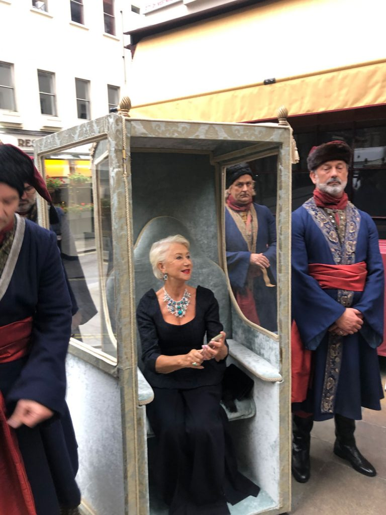 getting the sedan chair prop ready for the red carpet