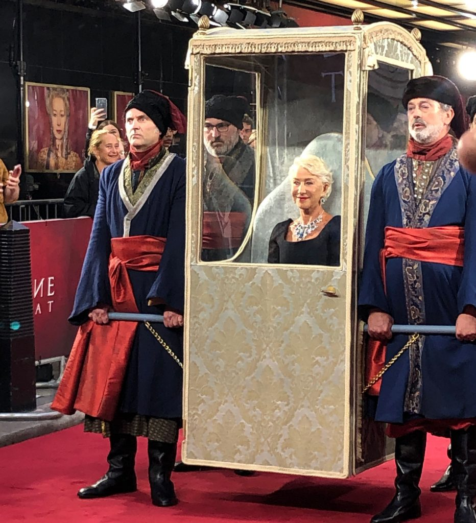 helen mirren and the sedan chair prop