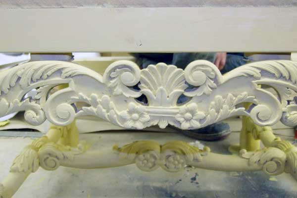 detailed carving on chair prop of crown